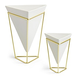 Umbra® Trigg Tabletop Vases in White/Brass (Set of 2)