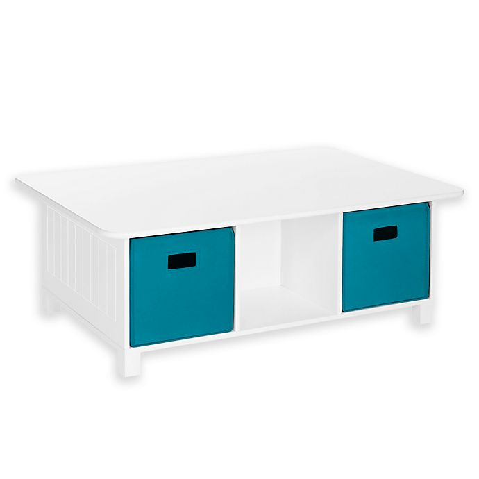 Alternate image 1 for Riverridge® Home Kids Activity Table with Storage Bins in White/Turquoise