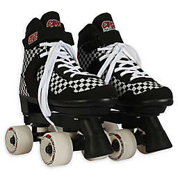 Circle Society Size 3-7 Adjustable Roller Skates in Black/White