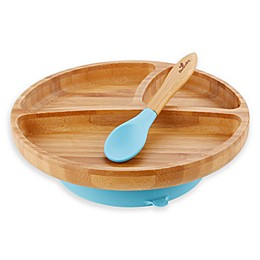 Avanchy Bamboo + Silicone Suction Toddler Plate + Spoon