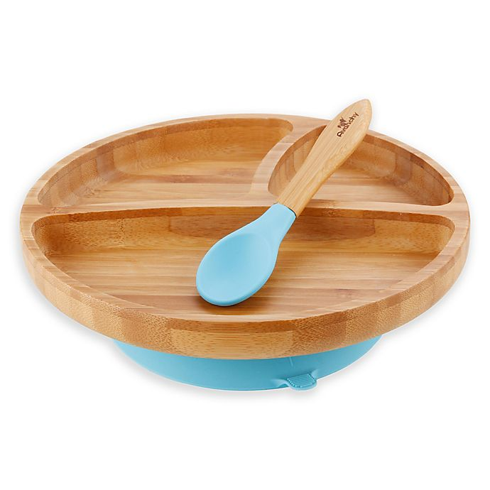 Alternate image 1 for Avanchy Bamboo + Silicone Suction Toddler Plate + Spoon