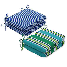 Pillow Perfect Stripe Rounded Seat Cushions (Set of 2)