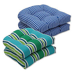 Pillow Perfect Stripe Wicker Seat Cushions (Set of 2)