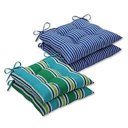 Pillow Perfect Stripe Wrought Iron Seat Cushions (Set of 2)