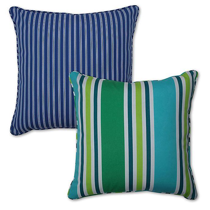 Alternate image 1 for Pillow Perfect Stripe Square Throw Pillow Set (Set of 2)