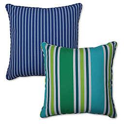 Pillow Perfect Stripe Square Throw Pillow Set (Set of 2)