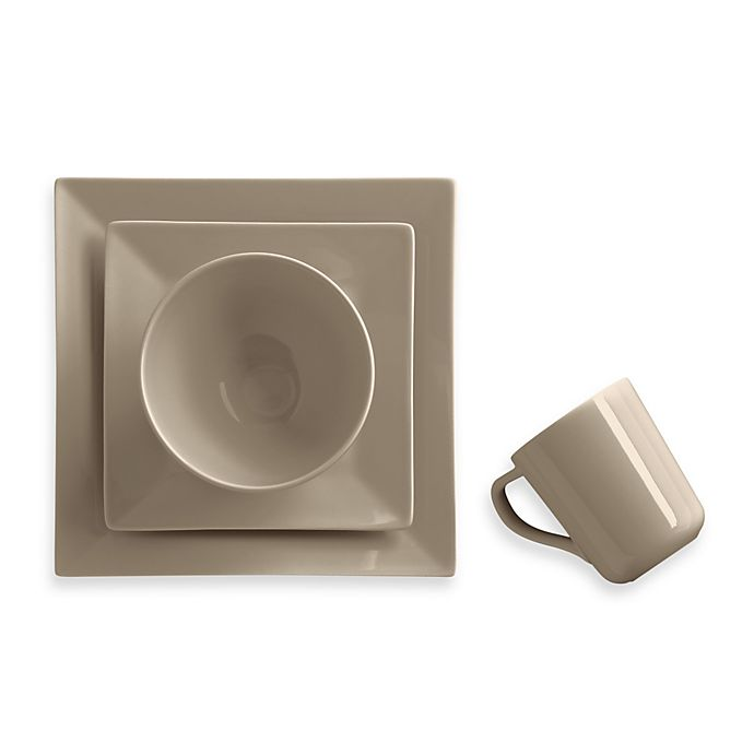 Alternate image 1 for Real Simple® Square Dinnerware Collection in Taupe