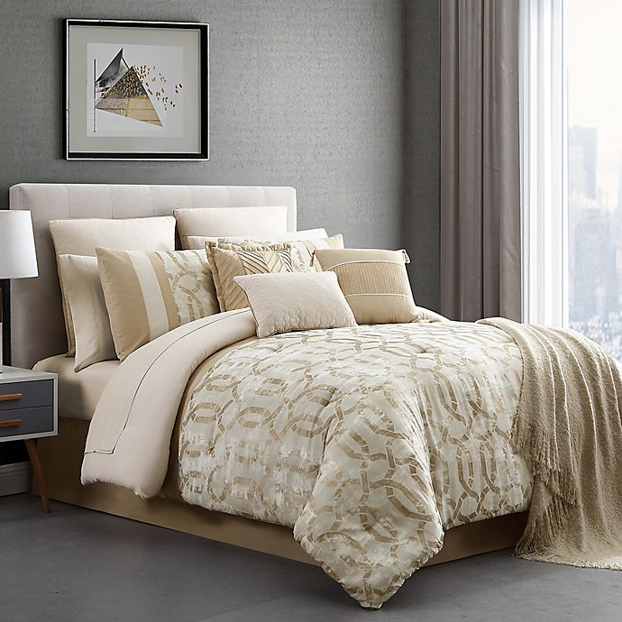 Belmont 14 Piece Jacquard Comforter Set, King Bedding Set Bed Bath And Beyond