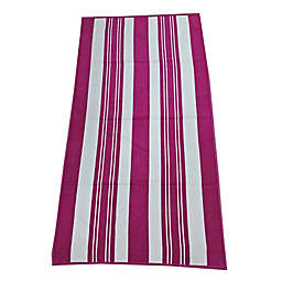 Destination Summer Dobby Azzure Stripes Warm Beach Towel in Fuchisa/White