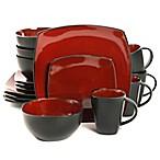 Gibson Home Amalfi 16-Piece Dinnerware Set in Red/Black