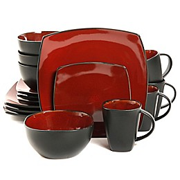 Gibson Home Amalfi 16-Piece Dinnerware Set in Red/Black