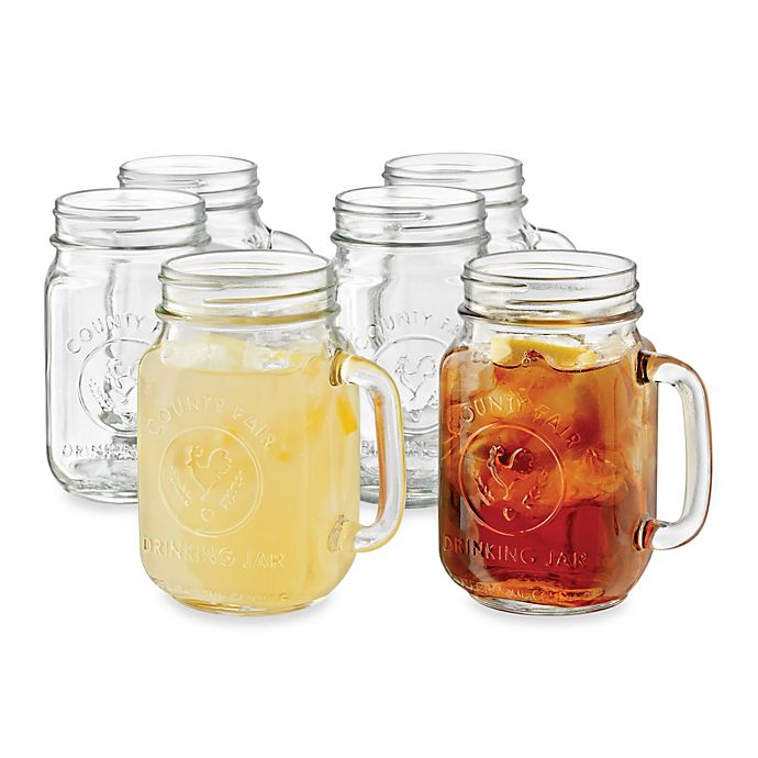 Libbey 174 Country Folk 16 1 2 Ounce Mason Drinking Jars Set