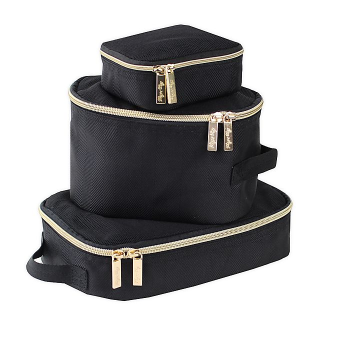 Alternate image 1 for Itzy Ritzy® Packing Cubes in Black/Gold (Set of 3)