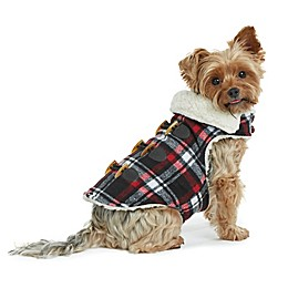 Bee & Willow™ Home Melton Sherpa Lined Plaid Dog Coat in Black
