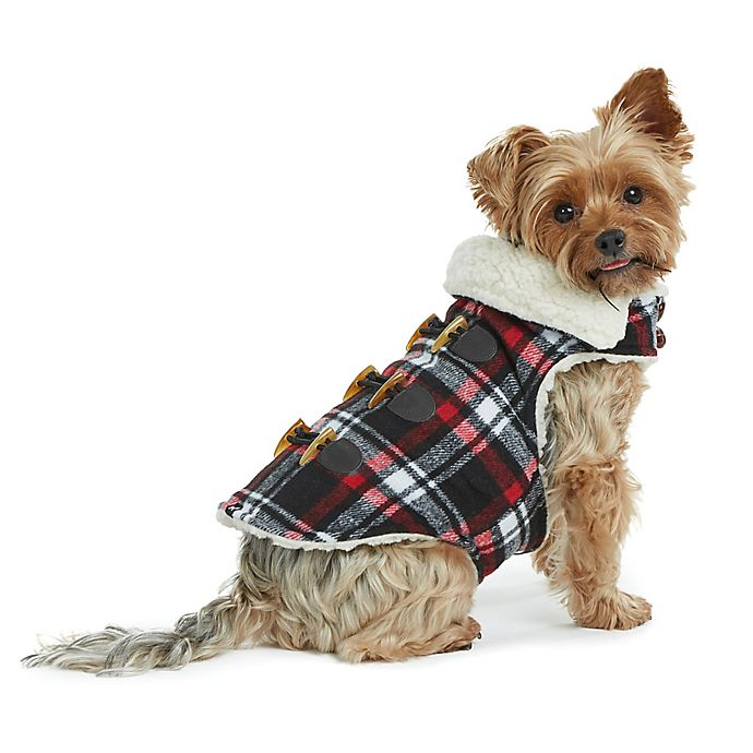 Alternate image 1 for Bee & Willow™ Home Plaid Melton Sherpa Lined Medium Dog Coat in Black