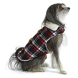 Bee & Willow™ Home Melton Extra Large Sherpa Lined Plaid Dog Coat in Black