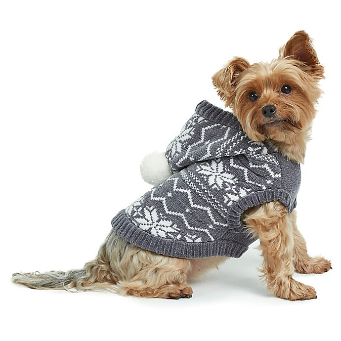 Alternate image 1 for Bee & Willow™ Home Chenille Fair Isle Hoodie Dog Vest in Grey