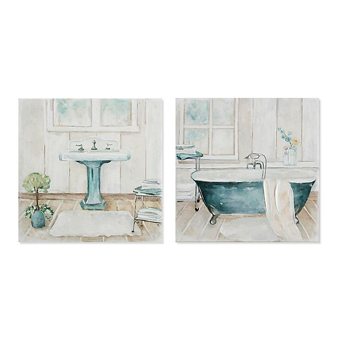 Blue Bathroom Scene 12 Inch Square Canvas Wall Art Set Of 2 Bed Bath Beyond
