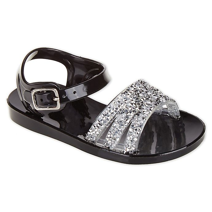Alternate image 1 for Stepping Stones Jeweled Jelly Sandals in Black