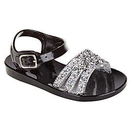 Stepping Stones Jeweled Jelly Sandals in Black
