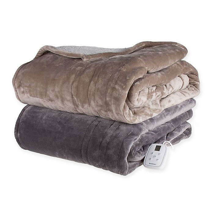 Alternate image 1 for Brookstone® n-a-p® Heated Sherpa Blanket