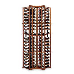 Wine Enthusiast N'FINITY 4-Column Curved Corner Wine Rack Kit with Display in Walnut