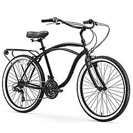 sixthreezero Around the Black Men's 26-Inch 21-Speed Cruiser Bike in MatteBlack