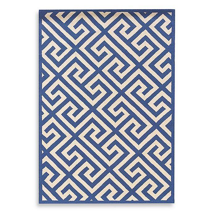 Alternate image 1 for Linon Home Greek Key Rug in Navy/White