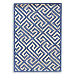 Linon Home Greek Key Rug in Navy/White