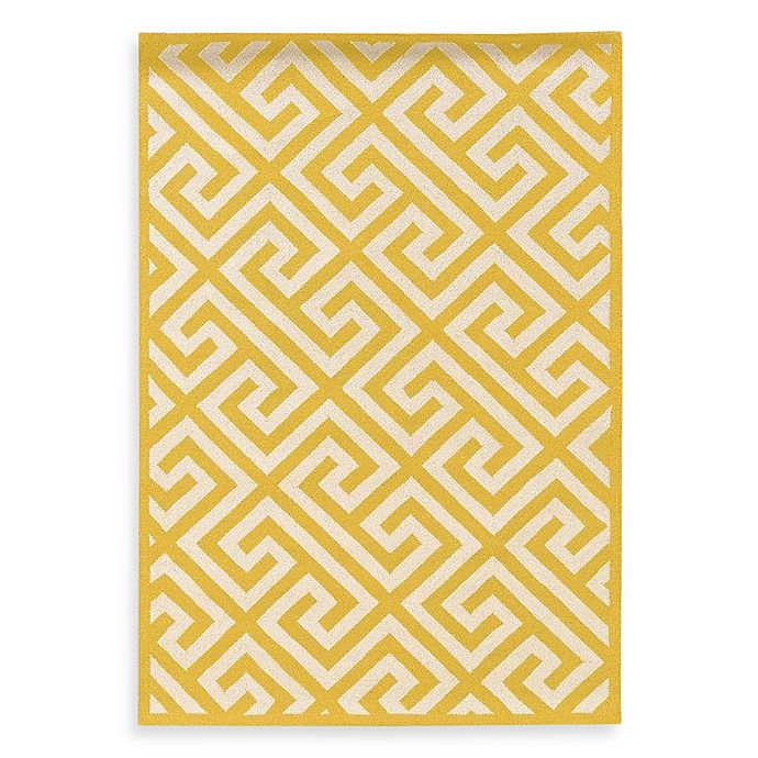 Alternate image 1 for Linon Home Greek Key Rug in Yellow/White
