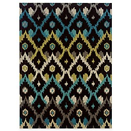 Linon Home Trio Collection Ikat Rug in Chocolate