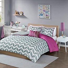 Intelligent Design Nadia 4-Piece Twin/Twin XL Comforter Set in Purple/Grey/White