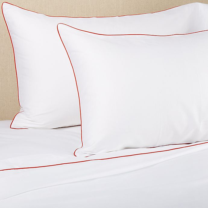 Alternate image 1 for Frette At Home Post Modern 280-Thread-Count King Sheet Set in White/Coral