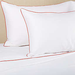 Frette At Home Post Modern 280-Thread-Count King Sheet Set in White/Coral