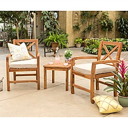 Forest Gate™ Aspen 3-Piece Acacia Patio Chat Set in Brown with Cushions