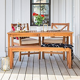 Forest Gate Aspen Acacia Wood 4-Piece Patio Dining Set in Brown with Cushions