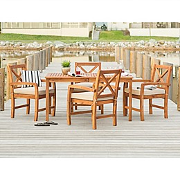 Forest Gate™ Aspen 5-Piece Acacia Patio Dining Set in Brown with Cushions