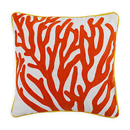 "Divine Home™ Embroidered Coral Outdoor Pillow, 17"" sq. Coastal Square Throw Pillow"