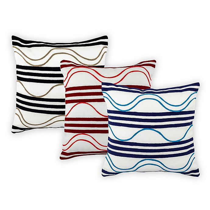 Alternate image 1 for Embroidered Waves Outdoor Throw Pillow