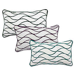 Divine Home Embroidered Curves Outdoor Oblong Throw Pillow