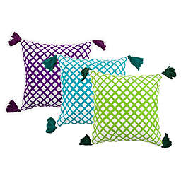 Embroidered Angles Square Outdoor Throw Pillow with Tassels