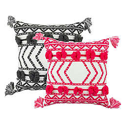 Embroidered Thelma Square Outdoor Throw Pillow with Tassels