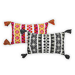 Embroidered Louise Oblong Outdoor Throw Pillow