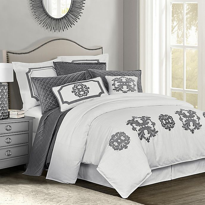 Alternate image 1 for HiEnd Accents Madison King Duvet Cover in Grey