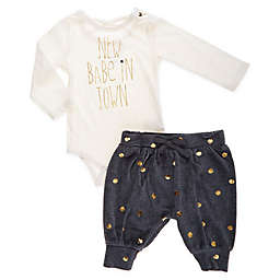 Jessica Simpson 2-Piece New in Town Bodysuit and Pant Set in Cream