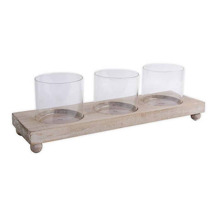 Alternate image 1 for Bee & Willow™ 3-Glass Votive Holder with Wood Tray
