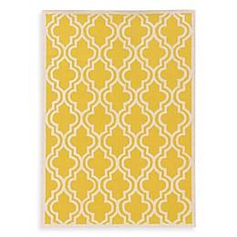 Linon Home Silhouette Collection Quatrefoil Rug in Yellow/White