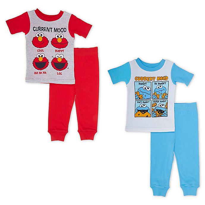 4c3bae4447525 Sesame Street® 4-Piece Elmo and Cookie Monster Moods Pajama Set ...