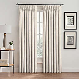 Scroll 63-Inch Pinch Pleat Room Darkening Window Curtain Panel in Pearl