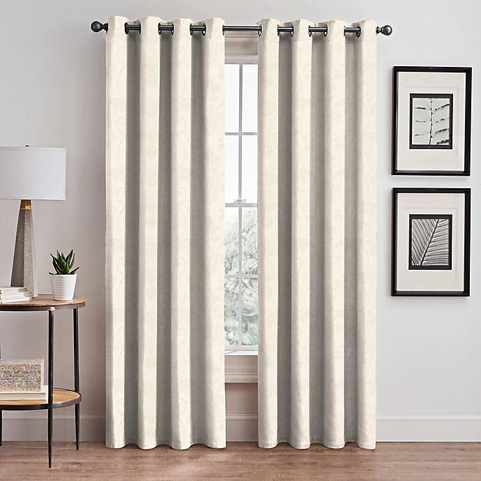 Alternate image 1 for Scroll Jacquard Grommet Room Darkening Window Curtain Panel